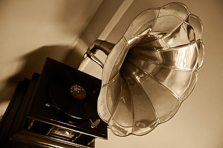 black and silver gramophone