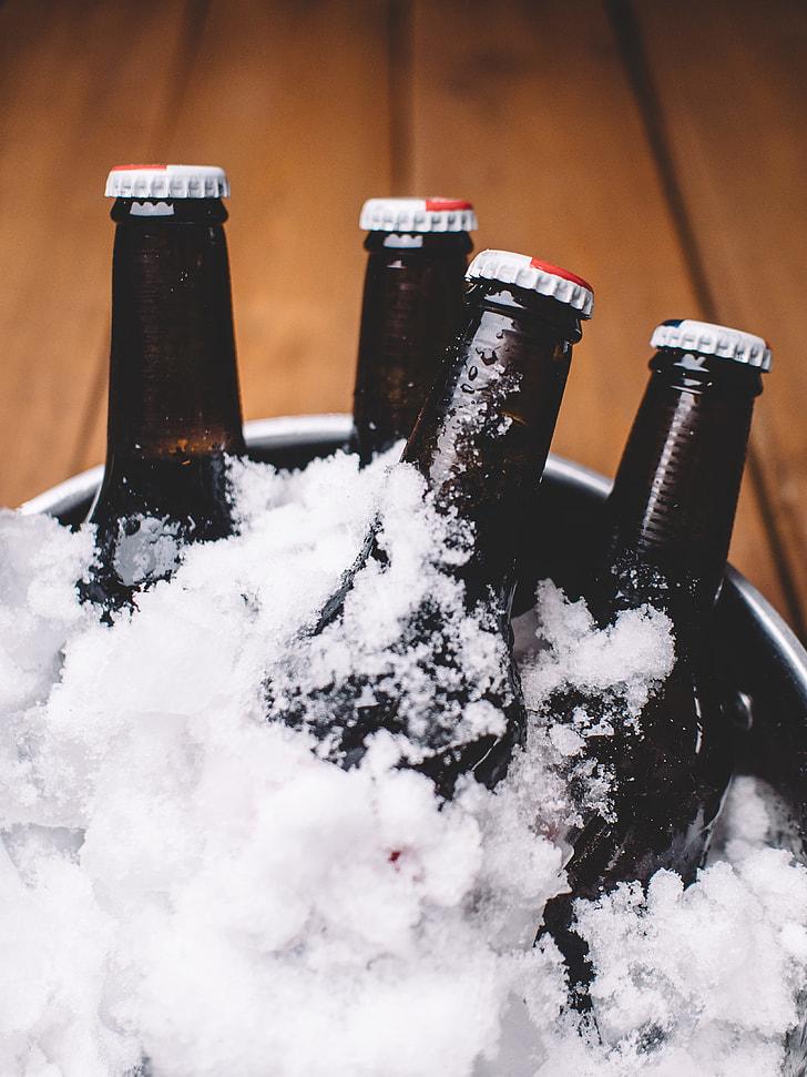 four black bottles on ice bucket
