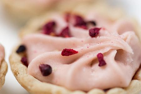 Macro shot of raspberry tart