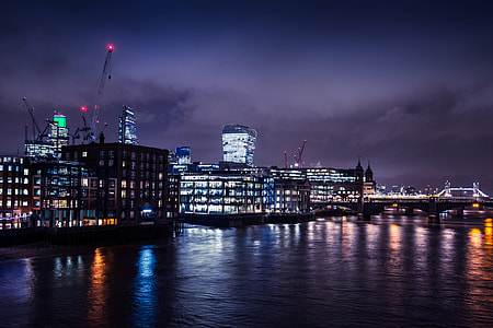 Wide-angle shot taken on the River Thames in London, England. Image captured with a Canon 6D DSLR
