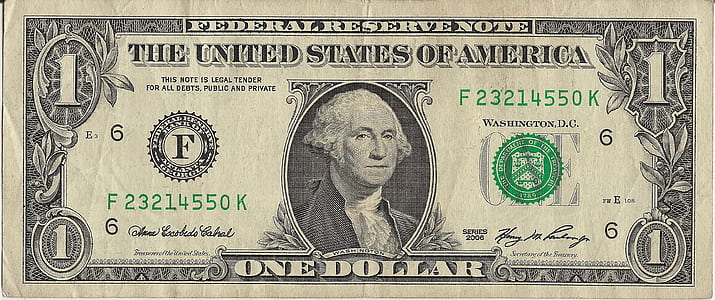photo of 1 U.S. dollar banknote