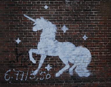 white unicorn painting