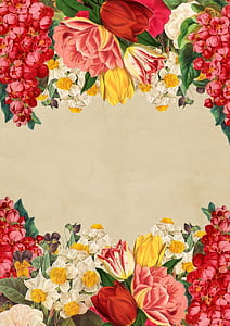 red, yellow, and pink flowers painting