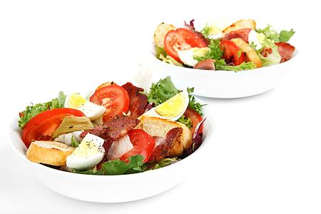 white, ceramic, bowls, bacon, bowl, cuisine