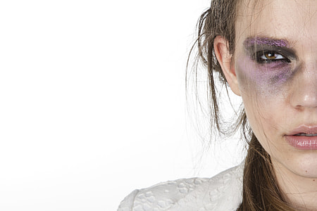 woman's face with makeups