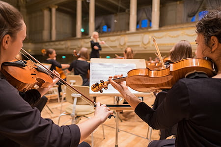 photograph of group of people playing violins