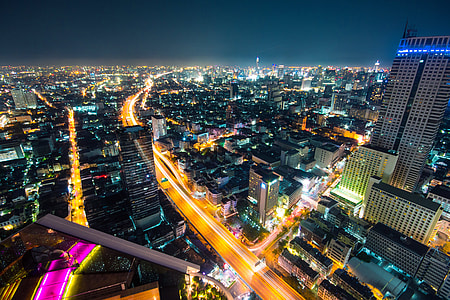 Night shot of the city of Bangkok in Thailand