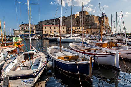 Wide-angle shot of the Harbour in Napoli, Italy