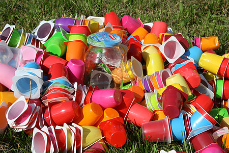 assorted-color plastic cup lot