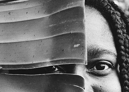 grayscale photo of human eyes