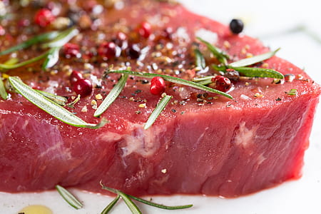 sliced raw steak