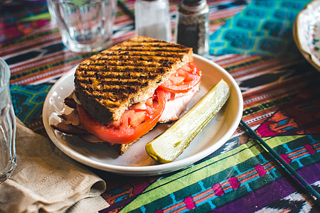 Toasted sandwich with pickles