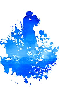 painting of blue couple illustration