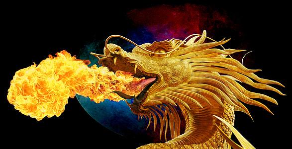 gold dragon breath of fire 3D wallpaper