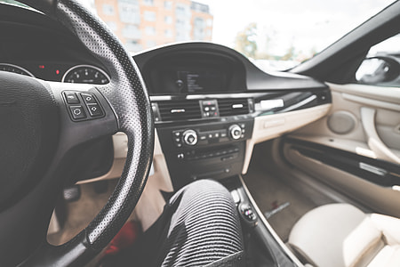 Light Modern Car Interior from Driver's View