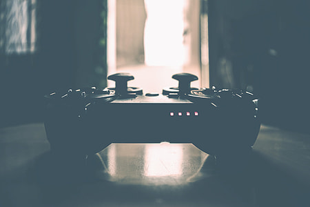 Closeup shot of video games controller