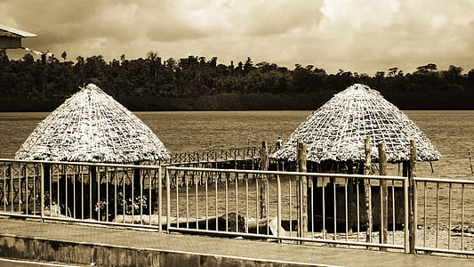 Grayscale Photo of Huts