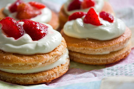 four strawberry biscuits