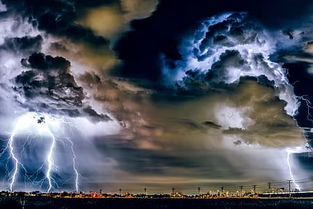 cityscape with thunder