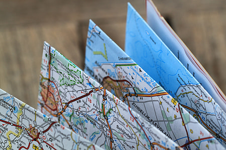 closeup photography, map, folding map, road map, travel route, auto map