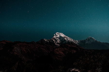 landscape photography of mountain peak during nighttime