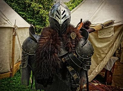 medieval knight armor set at daytime