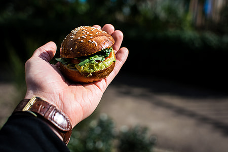 Mini burger with guacamole outside