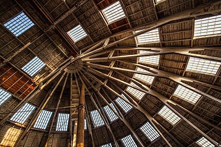 Wide angle shot showing wooden buildingroof details, image captured in Chatham, Kent, England