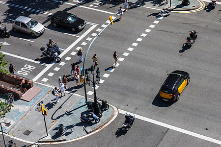 An overhead shot of a crossroad intersection in Barcelona, Spain