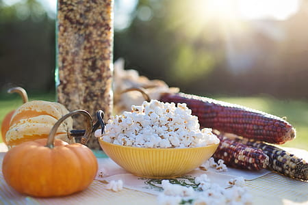 popcorn in the yellow bowl
