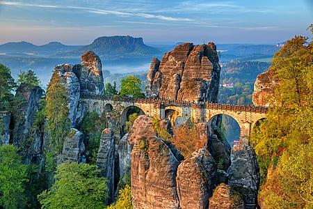landscape photo of mountain with bridge