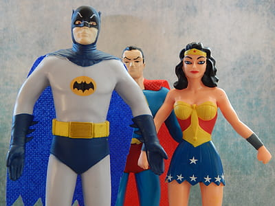 Justice League Batman, Superman, and Wonder Woman toys