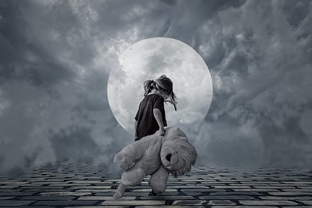 grayscale photo of walking girl carrying lion plush toy