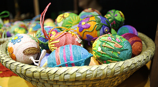 brow wicker basket with Easter eggs