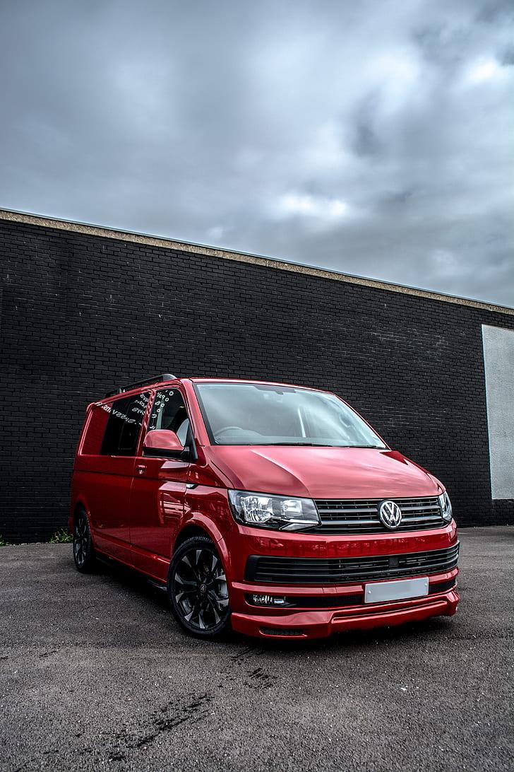 red Volkswagen Transporter