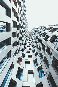 low angle photo of white high-rise building