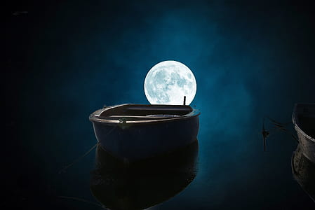 rowboat on body of water during full moon illustration