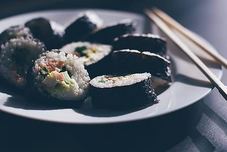 kimbap on white plate
