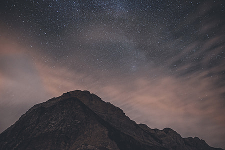 Mountains at night with stars in the sky