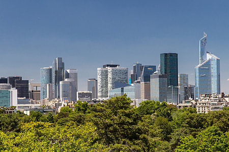 Wide angle shot of the skyscrapers in La Défense district in Paris, France