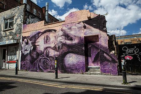 Street art photo taken off Brick Lane, East London, England