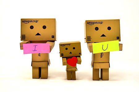 three Amazon cardboards