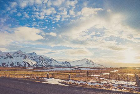 Vintage Snow Mountain Blue Sky