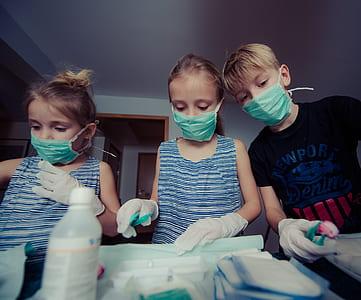Three Children Wearing Face Masks