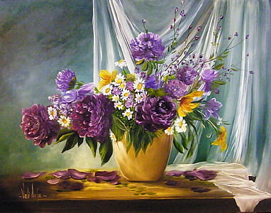 painting of purple flower arrangement