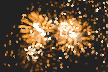 Bokeh Classy Golden Fireworks Lights Background