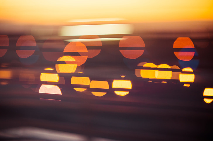 Evening Sunset Abstract City Lights Bokeh
