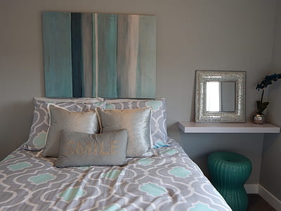grey and blue bed and pillow cover set