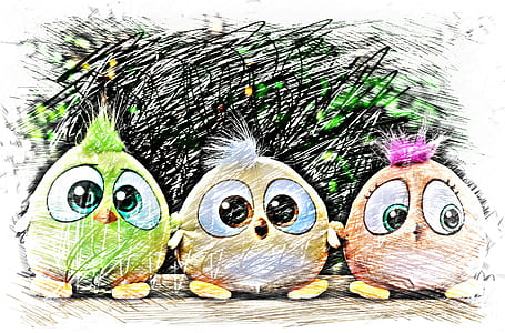 three assorted-color hatchling bird animated illustration