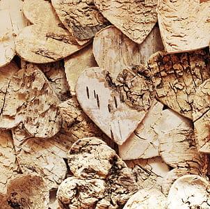 brown wooden heart decors